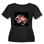 Stargazer Lily Women's Plus Size Scoop Neck Dark T