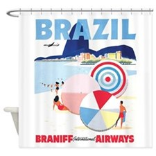 Brazil, Vintage Travel Poster Shower Curtain