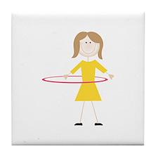 Hula Hoop Girl Tile Coaster