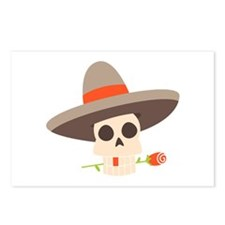 Skull With Sombrero Postcards (Package of 8)