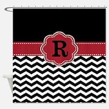 Red Black Chevron Monogram Shower Curtain