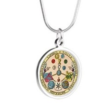 Emerald Tablet Of Hermes Silver Round Necklaces