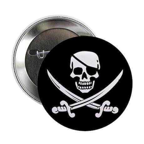 "Eyepatch Skull & Crossed Swords 2.25"" Button (10 p"