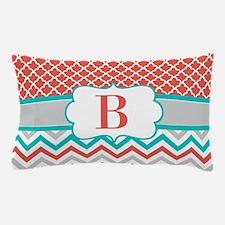 Coral Teal Chevron Quatrefoil Monogram Pillow Case