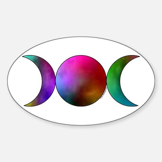 Triple Moon Oval Sticker - Watercolor