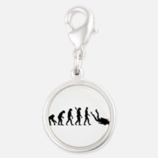 Evolution Diving Silver Round Charm