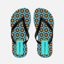 Teal Yellow Brown Floral Pattern Flip Flops