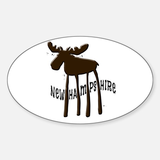 NH Chocolate Moose Sticker (Oval)