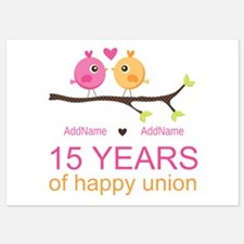 15th Anniversary Personalized 5x7 Flat Cards