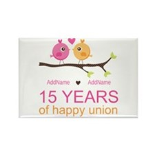 15th Anniversary Personalized Rectangle Magnet