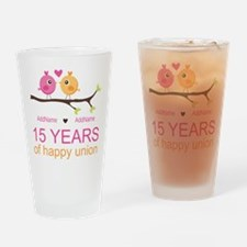 15th Anniversary Personalized Drinking Glass