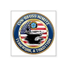 "CVN-68 USS Nimitz Square Sticker 3"" x 3"""