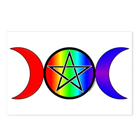 Triple Moon Pentacle Postcards Rainbow (Pkg of 8)