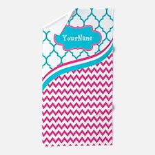 Pink and Teal Chevron Custom Beach Towel