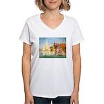 Sailboats (#2) & Golden Women's V-Neck T-Shirt