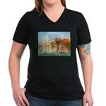 Sailboats (#2) & Golden Women's V-Neck Dark T-Shir