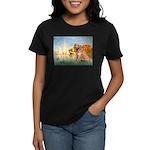 Sailboats (#2) & Golden Women's Dark T-Shirt