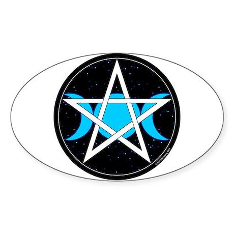 Pentacle Triple Moon Oval Sticker - Black