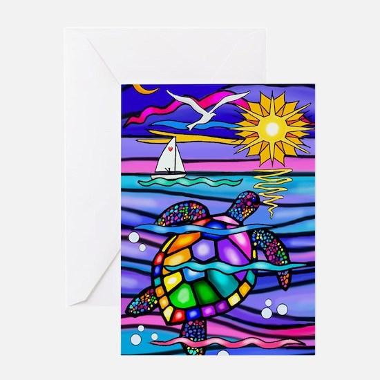 Cool Sea turtle Greeting Card