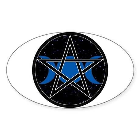 Pentacle Triple Moon Oval Sticker - Celestial