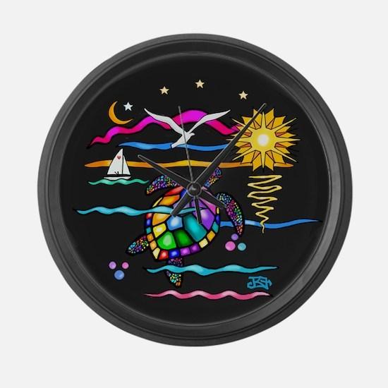 SeaTurtle (night) Large Wall Clock