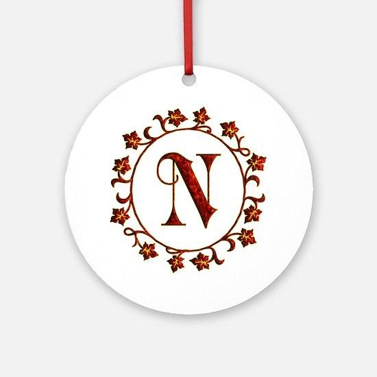 Letter N Monogram Ornament (Round)