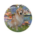 Lilies & Golden Ornament (Round)