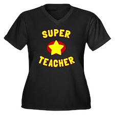 Super Teache Women's Plus Size V-Neck Dark T-Shirt