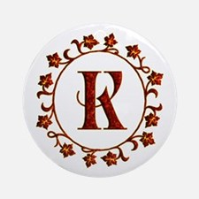 Letter K Monogram Ornament (Round)