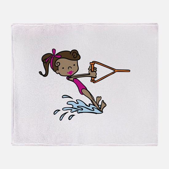 Barefoot Ski Girl Throw Blanket