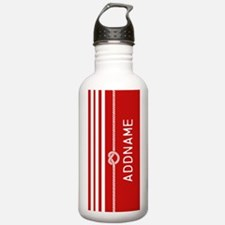 Red White Stripes Rope Water Bottle