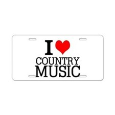I Love Country Music Aluminum License Plate