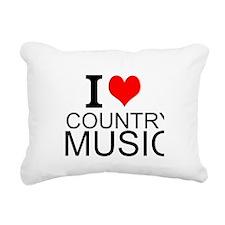 I Love Country Music Rectangular Canvas Pillow