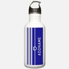 Blue White Stripes Rop Water Bottle