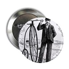 """Penny Farthing Bicyclist 2.25"""" Button"""
