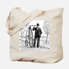 Penny Farthing Bicyclist Tote Bag