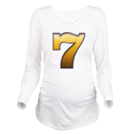 Big Gold Number 7 Long Sleeve Maternity T-Shirt