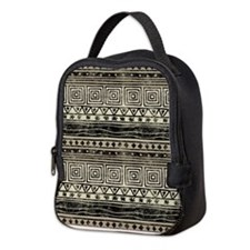 African Geometric Pattern Neoprene Lunch Bag