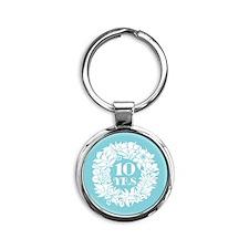 10th Anniversary Wreath Round Keychain