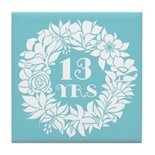 13th Anniversary Wreath Tile Coaster