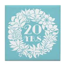 20th Anniversary Wreath Tile Coaster