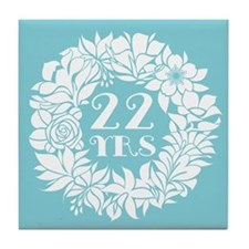 22nd Anniversary Wreath Tile Coaster