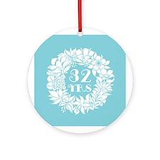 32nd Anniversary Wreath Ornament (Round)