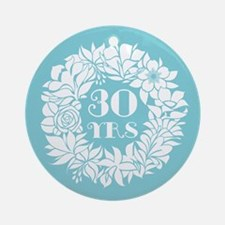 30th Anniversary Wreath Ornament (Round)