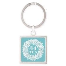 34th Anniversary Wreath Square Keychain