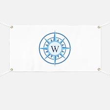 Compass, Nautical Monogram, Blue Banner