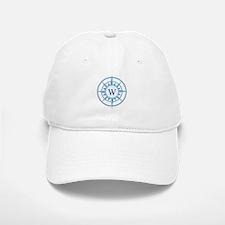 Compass, Nautical Monogram, Blue Baseball Baseball Cap