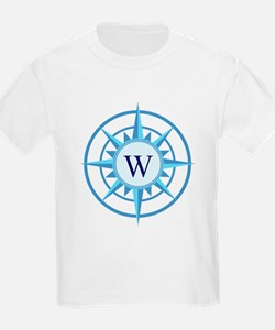Compass, Nautical Monogram, Blu T-Shirt