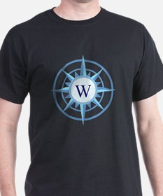 Compass, Nautical Monogram, Blue T-Shirt