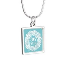 36th Anniversary Wreath Silver Square Necklace